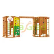 Двойной спортивно-игровой комплекс - IGRAGRAD WORKOUT DOUBLE, рукоход, скалодром, стена альпиниста, фото 1