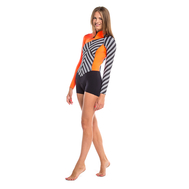 Гидрокостюм Glide Soul короткий SPRING SUIT ZIP 2mm WITH SHORTS FRONT Stripes Print/Black/Peach, фото 1