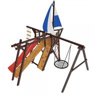 Деревянный уличный городок-корабль - САМСОН ФРЕГАТ, паруса, штурвал, качели, горка, рукоход, фото 1