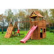 Деревянный игровой уличный комплекс - ВЫШЕ ВСЕХ КРЕПОСТЬ, горка волнистая, качели, песочница, башня с крышей, столик, лавочки, фото 1
