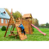 Спортивно-игровой детский комплекс - ВЫШЕ ВСЕХ КРЕПОСТЬ ЗАСТАВА, 3 качели, горка, башня с крышей, песочница, камуфляжная сетка, фото 1