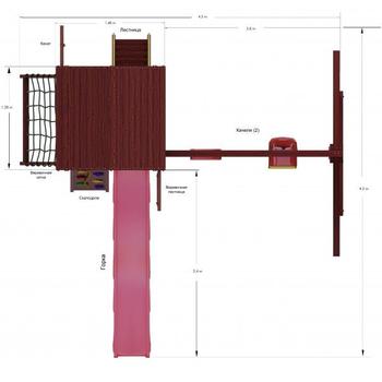 Уличный деревянный городок - IGRAGRAD CLASSIC ПАНДА ФАНИ GRIDE, волновая горка, лестница, качели, песочница, фото 3
